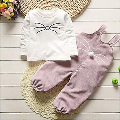 cheap Baby Girls' Clothing Sets-Baby Girls' Basic Daily Solid Colored Long Sleeve Regular Clothing Set White / Toddler