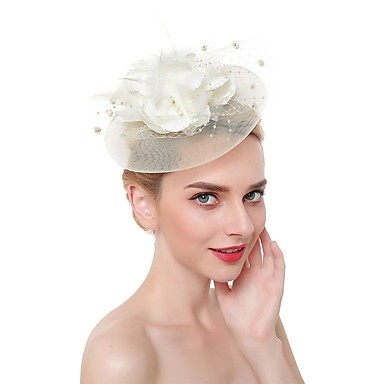 Feathers / Net Fascinators / Headdress with Feather 1 Piece Wedding / Special Occasion Headpiece