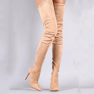 ieftine Ghete de Damă-Pentru femei Cizme Pantofi pentru genunchi Toc Stilat Vârf ascuțit Imitație Blană Cizme coapsă mare- Dulce Primăvara & toamnă Negru / Migdală / Mov / Party & Seară