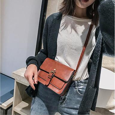 Kadın's Fermuar PU Omuz çantası Siyah / Kahverengi / Sarı