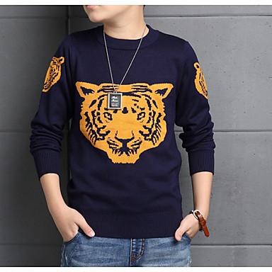 preiswerte Pullover & Strickjacken für Jungen-Kinder Jungen Grundlegend Alltag Solide Langarm Standard Baumwolle Pullover & Cardigan Marineblau