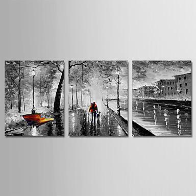 povoljno Ulja na platnu-Hang oslikana uljanim bojama Ručno oslikana - Sažetak Moderna Uključi Unutarnji okvir / Tri plohe / Prošireni platno