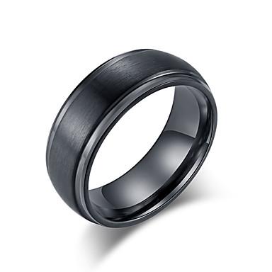 billige Motering-Herre Band Ring Ring 1pc Svart Sølv Volframstål Rustfritt stål Stilfull Grunnleggende trendy Bryllup Aftenselskap Smykker Klassisk Kul