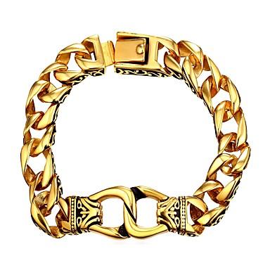 preiswerte Gliederarmband-Herrn Ketten- & Glieder-Armbänder Dicke Kette Modisch Edelstahl Armband Schmuck Gold / Silber Für Geschenk Alltag