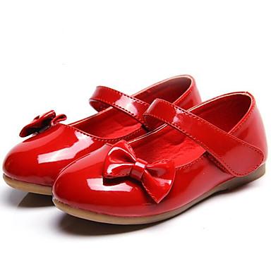preiswerte Kids' Flats-Mädchen Komfort PU Flache Schuhe Kleinkind (9m-4ys) / Kleine Kinder (4-7 Jahre) Schwarz / Rot / Rosa Frühling / Herbst