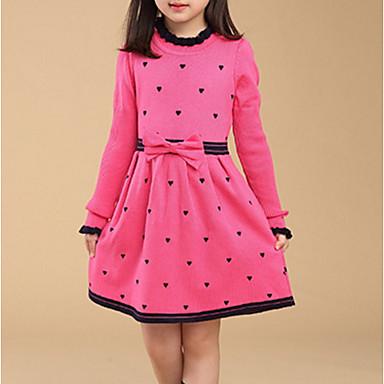 povoljno Beba & Djeca-Djeca Djevojčice Osnovni Geometrijski oblici Dugih rukava Haljina Red