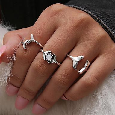 billige Motering-Dame Knokering Ring Set Midi Ring Syntetisk Opal 3pcs Sølv Harpiks Legering damer Personalisert Unikt design Daglig Kveld og spesielle anledninger Smykker Retro Fisk Havfrue Kul Smuk