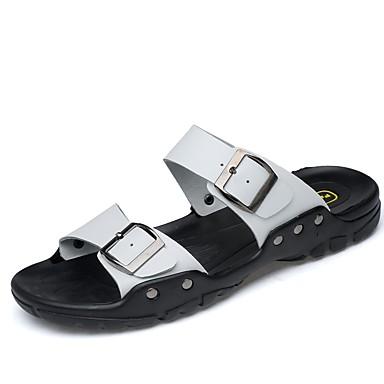 Muškarci Udobne cipele Koža Ljeto Klasik / Ležerne prilike Papuče i japanke Prozračnost Braon / Obala / Plava