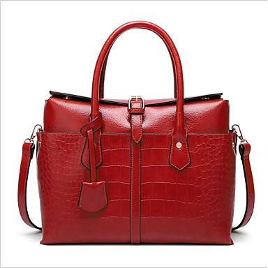 povoljno Tote torbe-Žene Patent-zatvarač PU Torba s ručkom Crn / Braon / Red
