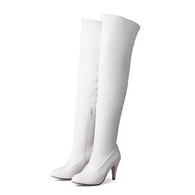 levne Dámská obuv-Dámské Boty Boty přes kolena Vysoký úzký S uzavřeným palcem PU Nad kolena Zima Černá / Mandlová / Bílá