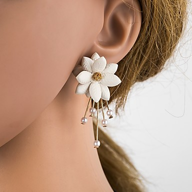 Žene Sitne naušnice 3D Cvijet dame Stilski Klasik Imitacija bisera Smola S925 Sterling Silver Naušnice Jewelry Bež / bijelo Za Dnevno 1 par