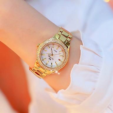 povoljno Ženski satovi-Žene Ručni satovi s mehanizmom za navijanje Diamond Watch Zlatni sat Japanski Kvarc Nehrđajući čelik Zlatna 30 m Kreativan imitacija Diamond Analog dame Luksuz Moda Bling Bling - Gold / Silver