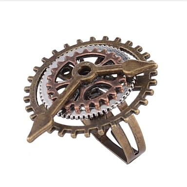 billige Motering-Dame Ring 1pc kaffe Legering Geometrisk Form damer Steampunk Kinetic Daglig Ferie Smykker Vintage Stil Utstyr Kul