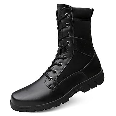 Muškarci Vojničke čizme Platno / Koža Zima Vintage / Ležerne prilike Čizme Ugrijati Čizme do pola lista Crn / Vanjski / Desert Boots