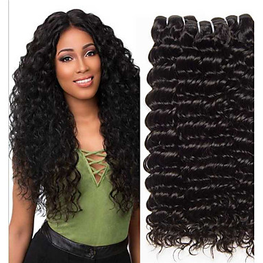 cheap Hair Extensions-3 Bundles Brazilian Hair Deep Wave Remy Human Hair 100% Remy Hair Weave Bundles 300 g Natural Color Hair Weaves / Hair Bulk Human Hair Extensions 8-28 inch Natural Color Natural Black Human Hair