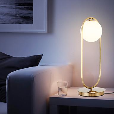 preiswerte Home&Living-nordic simple tischlampe glas runde kugel tischlampe metall halterung licht für schlafzimmer arbeitszimmer büro metall