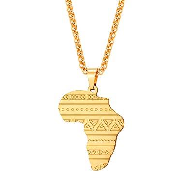 levne Pánské šperky-Pánské Náhrdelníky s přívěšky Klasika Mapy Klasické Afričan Nerez Stříbrná Modrá Růžové zlato 55 cm Náhrdelníky Šperky 1ks Pro Dar Denní