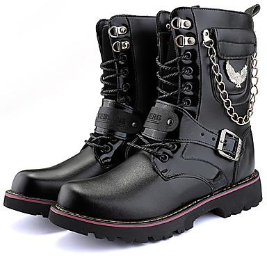 Muškarci Fashion Boots Sintetika Zima Ležerne prilike / Uglađeni Čizme Ugrijati Čizme do pola lista Crn / Vanjski / Vojničke čizme