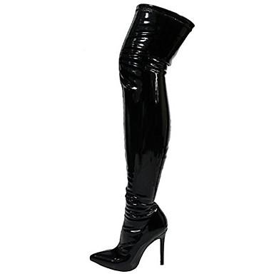 billige Utvalgte tilbud-Dame Støvler Over-The-Knee Boots Stiletthæl Spisstå PU Lårhøye støvler Søt Høst vinter Svart / Mandel / Hvit / Fest / aften