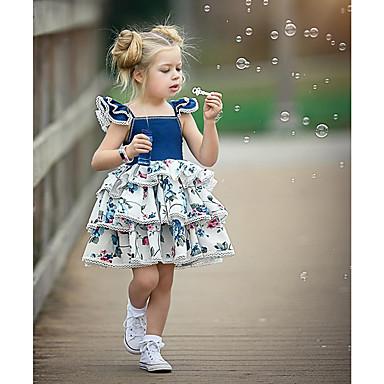 povoljno Odjeća za bebe-Dijete Djevojčice Aktivan / Ulični šik Party / Kamado roštilj Blue & White Cvjetni print Vezanje straga / Print Bez rukávů Regularna Normalne dužine Iznad koljena Pamuk Haljina Plava