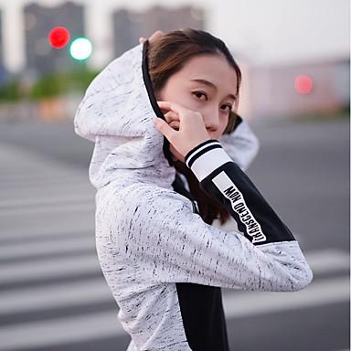 Dam Skorstenskrage Lappverk Huvtröja och sweatshirt T-shirt för jogging Yoga Top Färgblock Zumba Yoga Löpning Överdelar Långärmad Sportkläder Vindtät Frihet Elastisk Ledig