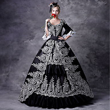 [$119.99] Maria Antonietta Rococo Victorian Medieval Dress Masquerade  Women\'s Lace Costume Black Vintage Cosplay Party Prom 3/4 Length Sleeve  Ball ...