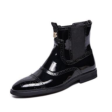 Homens Fashion Boots Couro Ecológico Inverno / Outono & inverno Casual / Formais Botas Botas Cano Médio Preto / Ao ar livre / Escritório e Carreira / Coturnos