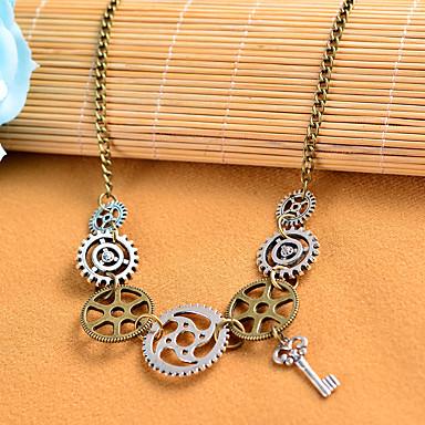levne Dámské šperky-Dámské Vintage náhrdelník Retro Klapky Gear Prohlášení dámy Vintage Steampunk Slitina Bronzová 68 cm Náhrdelníky Šperky 1ks Pro Plesová maškaráda Profesionální