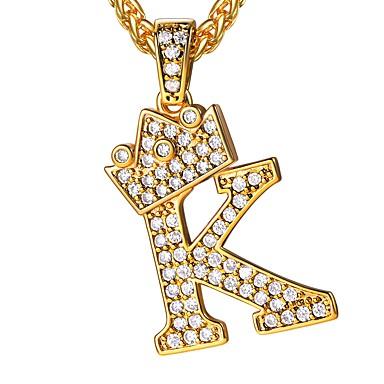 povoljno Modne ogrlice-Muškarci Kubični Zirconia Ogrlice s privjeskom Logo Ime Alphabet Shape Početno Nakit Kamen Zlato 55 cm Ogrlice Jewelry 1pc Za Dar Dnevno