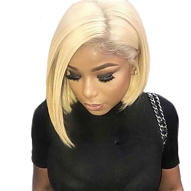 Human Hair 360 Frontal Lace Front Wig Bob Layered Haircut Short Bob style  Brazilian Hair Natural Straight Silky Straight Blonde Wig 150% Density with  Baby ... f69332f720