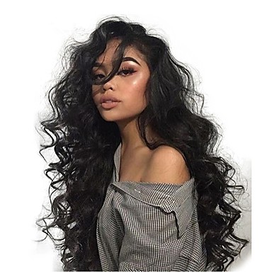 Remy kosa Full Lace Lace Front Perika Asimetrična frizura Wendy stil Brazilska kosa Tijelo Wave Prirodne kovrče Natural Crna Perika 130% 150% 180% Gustoća kose s dječjom kosom Nježno Žene Jednostavan