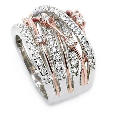 levne Dámské šperky-Dámské Prsten vždy kroužky Kubický zirkon drobný diamant 1ks Zlatá Stříbrná Měď Štras Postříbřené nepravidelný dámy Neobvyklé umělecké Svatební Denní Šperky Crossover Věčnost Dláždit