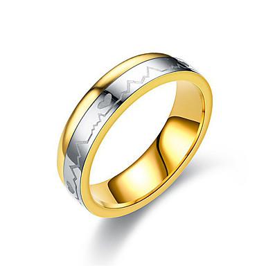 billige Motering-Par Ring spinnring Groove Rings 1pc Gull Titanium Stål Sirkelformet damer Enkel Klassisk Bryllup Gave Smykker Klassisk Tofargede Hjerte Venskap Heart Smuk
