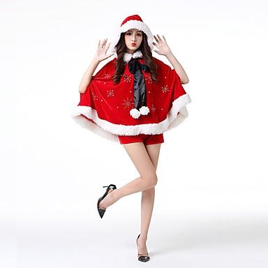 サンタクロース 女性用 大人 成人 ハロウィーン クリスマス クリスマス ハロウィーン カーニバル イベント/ホリデー ポリスター セット ルビーレッド ソリッド クリスマス