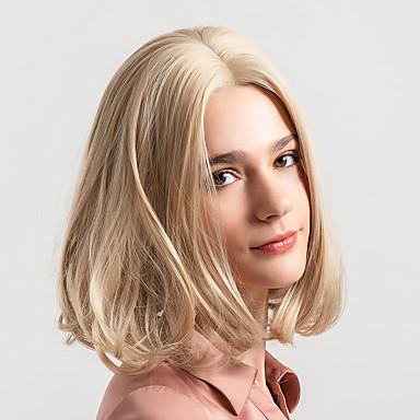 Sintetičke perike Prirodno ravno Stil Bob frizura Capless Perika Plavuša Svijetlo zlatna Sintentička kosa 12 inch Žene Novi Dolazak Prirodna linija za kosu Plavuša Perika Srednja dužina MAYSU