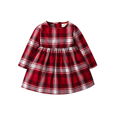cheap Clearance-Baby Girls' Basic Christmas Houndstooth Christmas Long Sleeve Dress Red / Toddler