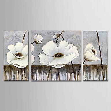 povoljno Ulja na platnu-Hang oslikana uljanim bojama Ručno oslikana - Cvjetni / Botanički Moderna Uključi Unutarnji okvir / Tri plohe / Prošireni platno