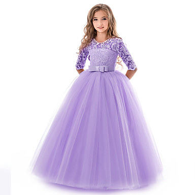 cheap Baby & Kids-Kids Girls' Basic Gowns Wedding Party Solid Colored Short Sleeve Dress Blue