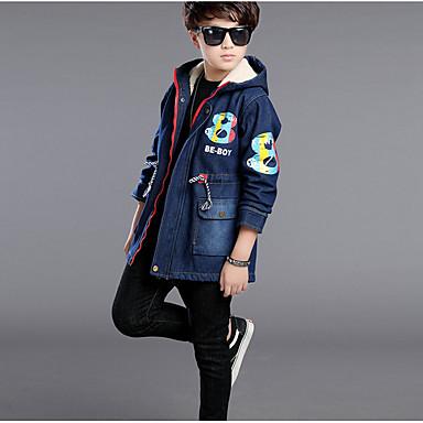 povoljno Odjeća za dječake-Djeca Dječaci Osnovni Dnevno Jednobojni Dugih rukava Normalne dužine Pamuk Baloner Navy Plava