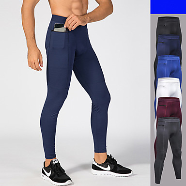 6c4537acbe Men's Pocket Running Tights Sports Solid Color Elastane Tights Leggings  Running Fitness Workout Activewear Breathable Moisture Wicking Antistatic  Power Flex ...
