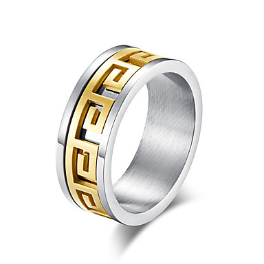 cheap Jewelry & Watches-Men's Band Ring Ring Groove Rings 1pc Black Gold Steel Stainless Stylish Basic Trendy Daily Street Jewelry Classic Two tone Cool