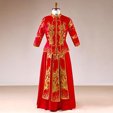 Nevjesta Vintage Kineski crveni Cheongsam Izgledi Cheongsam Žene Šljokice Svila Kostim Red+Golden Vintage Cosplay Zaručnička zabava Djevojačka večer Dugih rukava
