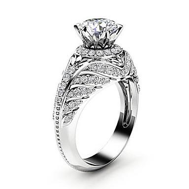 voordelige Dames Sieraden-Dames Statement Ring Ring Micro Pave Ring Diamant Kubieke Zirkonia kleine diamant 1pc Zilver Koper Platina Verguld Gesimuleerde diamant Vier punten Dames modieus Koreaans Avond Feest Carnaval Sieraden
