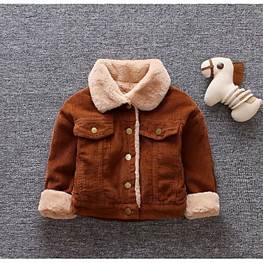 cheap Baby Boys' Outerwear-Baby Boys' Basic Solid Colored Long Sleeve Regular Down & Cotton Padded Brown