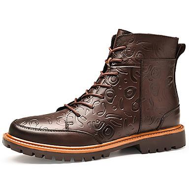 Muškarci Fashion Boots Mekana koža Jesen Ležerne prilike / Uglađeni Čizme Ugrijati Čizme do pola lista Crn / Braon / Vanjski / Vojničke čizme