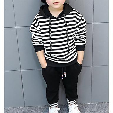 cheap Boys' Clothing Sets-Toddler Boys' Basic Striped Long Sleeve Clothing Set Black