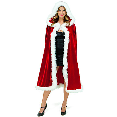 Cosplay Nošnje Plašt Santa Clothe Boy Odrasli Uniseks Prikriti Božić Božić New Year Festival / Praznik Terilen Red Karneval kostime Odmor / Shawl / Shawl