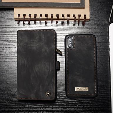 ケース 用途 Apple iPhone XS / iPhone X カードホルダー / フリップ / 磁石バックル フルボディーケース ソリッド ハード PUレザー