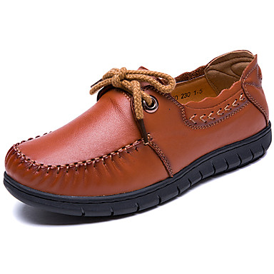 ab12d97684d61 نسائي Leather نابا ربيع   الصيف عتيق   كاجوال اخفاف كعب مسطخ أسود   بني  7004711 2019 –  69.99