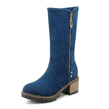 05ce64b199d Women s Denim Fall   Winter Boots Chunky Heel Round Toe Mid-Calf Boots  Black   Blue   Light Blue 7018971 2019 –  39.99